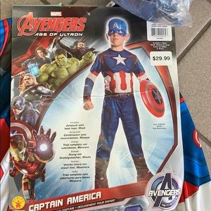 NWT Boys M(8-10) Captain America Costume + Shield